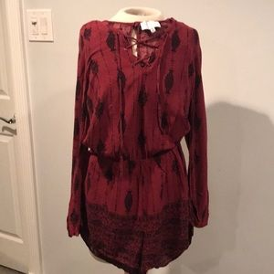 Kendall & Kylie burgundy romper with tie front